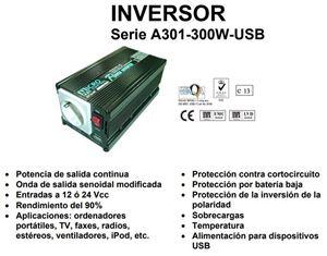 Imagen de Inversor 24V a 230vac 300W