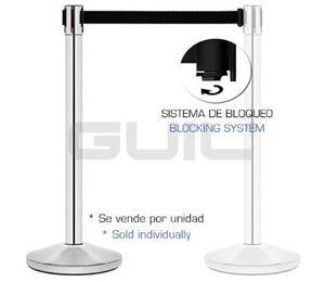 Imagen de Pilar de acero inoxidable con cinta retráctil negra 3m PST-11/N